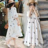 孕婦夏裝新款中長款短袖棉麻孕婦洋裝兩件套時尚款寬鬆裙子花間公主