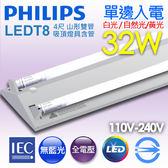 【有燈氏】PHILIPS 飛利浦 LED 山形 山型 4尺 T8 32W 雙管Eco 吸頂燈具 含管【TMS030-4x2】