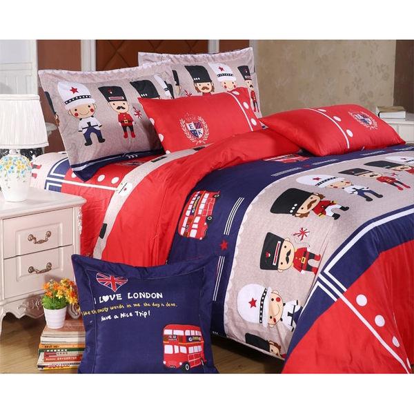 《英倫風尚》雙人薄床包兩用被四件組 100%MIT台製舒柔棉(5*6.2尺)