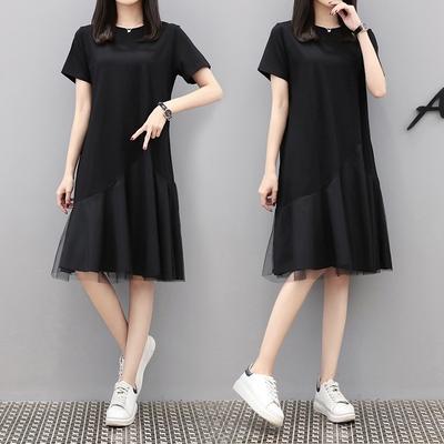 M4XL胖妹妹大碼洋裝連身裙~大版T恤裙紗網拼接印花寬松大碼胖MM連身裙4F101莎菲娜