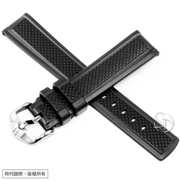 【台南 時代鐘錶 海奕施 HIRSCH】天然橡膠錶帶 Accent Caoutchouc  黑色 附工具 40478850 低過敏 仿賽造型