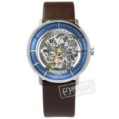 FOSSIL / ME3162 / Chase 機械錶 自動上鍊 鏤空機芯 礦石強化玻璃 日本機芯 真皮手錶 銀藍x深褐 42mm