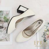 現貨 MIT婚鞋推薦 特色粗方跟圓頭高跟鞋 經典素面舒適高跟鞋 21-25.5 EPRIS艾佩絲-氣質白