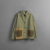 Queen Shop【02071307】不對稱拼色雙口袋襯衫外套 1/2*現+預*