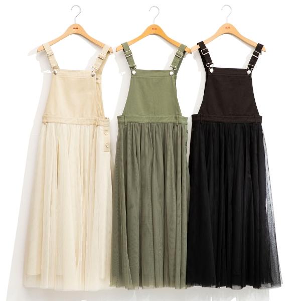 H2O 初夏 斜紋布拼接網紗吊帶紗裙長洋裝 - 綠/黑/卡色 #1684005
