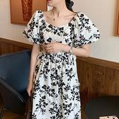 韓系洋裝氣質典雅派~ 復古碎花泡泡袖 側邊系帶連身裙KK021快時尚