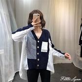 早秋歐貨不規則針織拼接襯衫女2020新款拼接針織開衫洋氣寬鬆外套 范思蓮恩