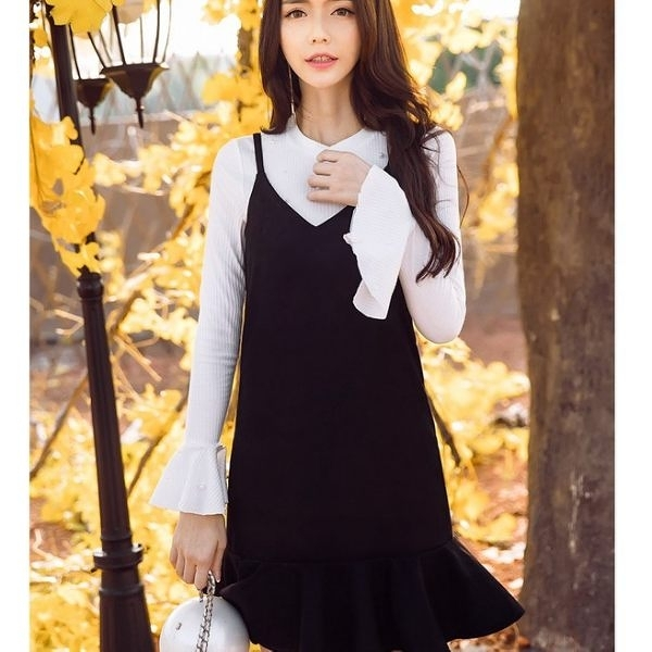 [98630-QF]時尚俏麗細肩帶荷葉裙襬背心裙~秋裝新款~小三衣藏