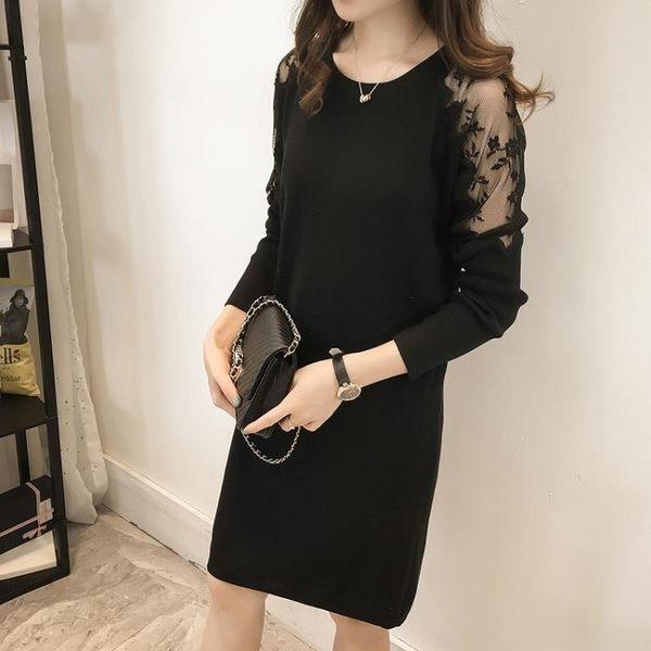大尺碼洋裝  秋冬裝蕾絲拼接針織連身裙中長款打底衫200斤