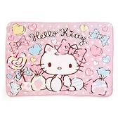 小禮堂 Hello Kitty 圓角毛毯披肩 單人毯 薄毯 蓋毯 70x100cm (粉 糖果) 4990270-12866