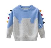 男童恐龍針織拚色長袖上衣 針織衫 毛衣 長袖 長袖毛衣 男童 橘魔法 現貨 童裝