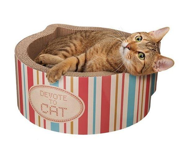 『寵喵樂旗艦店』日本AIM CREATE mju系列-Kitty大頭造型條紋色貓抓板
