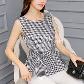 韓版格子無袖打底衫時尚修身大碼休閑襯衫