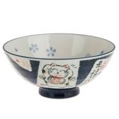 日本美濃燒碗 L 招福貓 藍