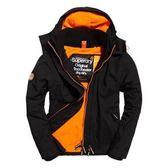 【蟹老闆】SUPERDRY 經典基本款 橘內裡 黑色 防風外套 防潑水機能性風衣外套 有帽黑標 男款