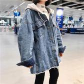 長袖寬鬆連帽原宿風牛仔外套女秋季2018新款韓版學生牛仔夾克上衣