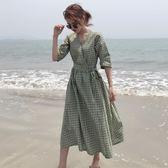 夏裝女裝正韓中長款氣質v領時尚格子繫帶修身短袖挺版洋裝顯瘦長洋裝  均碼 鉅惠兩天