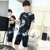 男士短袖套裝新款社會精神小伙t恤韓版潮流帥氣一套衣服夏季 QG3305『M&G大尺碼』
