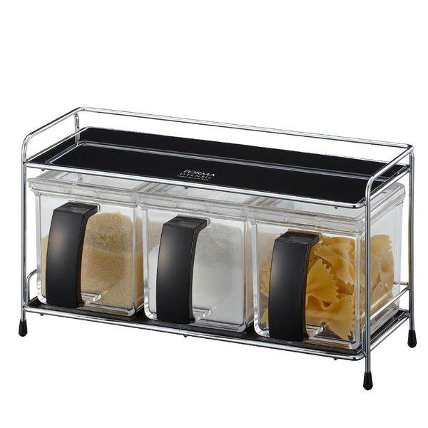 日本ASVEL FORMA調味盒架組三入 / 廚房收納 料理烘培 密封保鮮 調味瓶罐 鹽巴味精砂糖