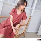 《DA5534》素面小V領拼接裙襬雪紡洋裝 OrangeBear