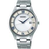 SEIKO精工SPIRIT簡約羅馬太陽能鈦金屬腕錶  V157-0CZ0S  SBPX113J 銀白