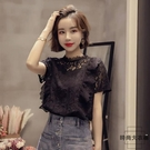 大碼雪紡衫夏季韓版女裝時尚小心機減齡蕾絲短袖T恤【時尚大衣櫥】