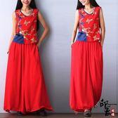 民族風棉麻上衣兩件套中國風大尺碼女上衣 寬鬆大腳褲長褲