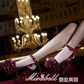 一字帶扣羅馬女涼鞋粗跟防水臺水鉆超高跟鞋    蜜拉貝爾