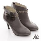 A.S.O 機能美靴 全真皮花朵金鏈奈米踝靴 灰色