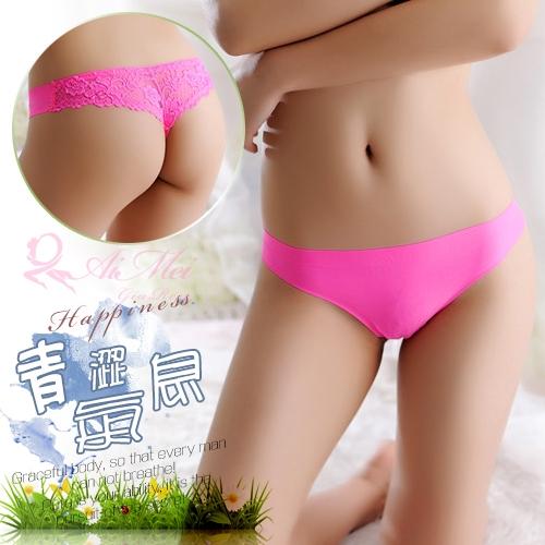 情趣睡衣 情趣用品 性感內褲 青澀氣息!無痕緹花蕾絲美臀丁字褲﹝玫紅﹞【538401】
