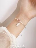 手錬【現貨】 粉紅水晶羽毛吊墜手鍊手鐲女桃花草莓色圓珠