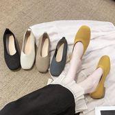軟底鞋平底單鞋女秋季新款方頭孕婦針織鞋軟底一腳蹬粗跟 coco衣巷
