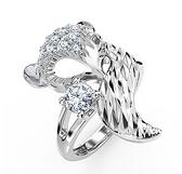 狐貍戒指女999純銀個性網紅時尚銀飾小眾設計食指足銀開口可調節 滿天星