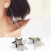 耳環 誇張 多重 星星 鑲鑽 鏈條 吊墜 個性 耳環【DD1609061】 icoca  09/28