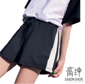 EASON SHOP(GU6394)側邊大白條紋顯瘦鬆緊腰運動褲女短褲高腰黑色熱褲學生休閒褲韓版寬鬆班服睡褲