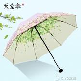 遮陽傘防紫外線女小清新黑膠雙層防曬太陽傘晴雨傘折疊兩用 ciyo黛雅