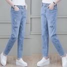 輕薄流蘇牛仔褲女士新款潮小個子春夏裝流行小雛菊高腰褲子 黛尼時尚精品