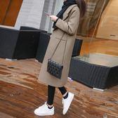 毛呢外套女中長款韓版2018冬季新款女裝加厚寬松顯瘦秋冬呢子大衣「爆米花」