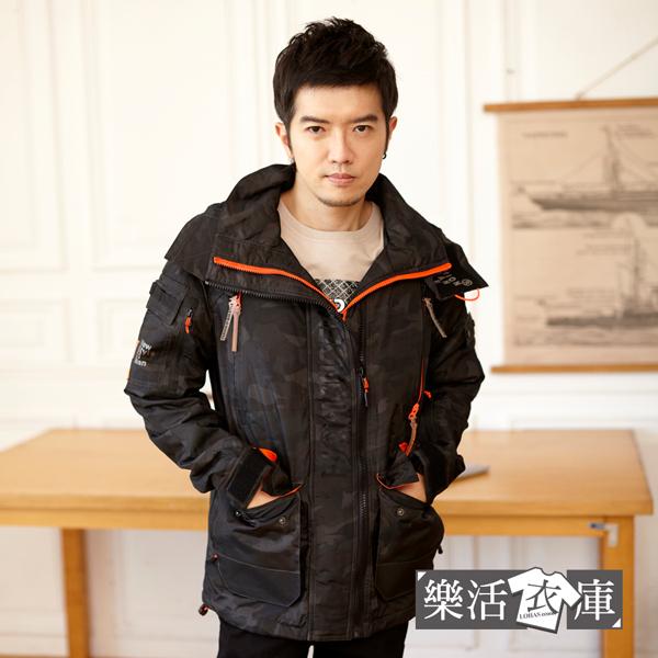 美式迷彩多口袋防潑水內刷毛連帽衝鋒外套(黑灰)● 樂活衣庫【W904】