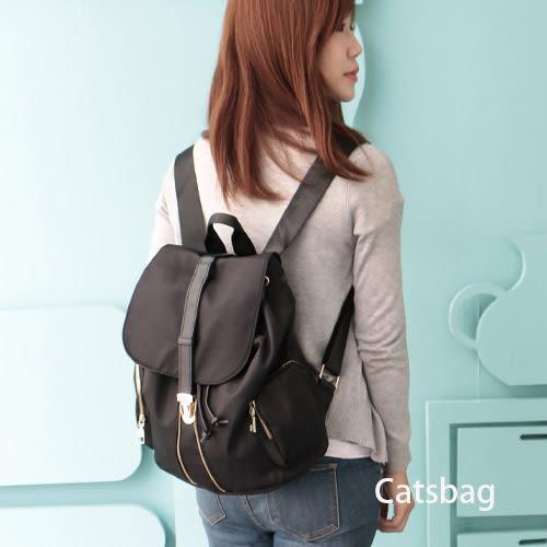 後背包-純色豹紋防水卡扣鍊造型雙口袋後背包-Catsbag-210541026/598