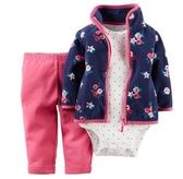 Carter's 套裝 包屁衣   花朵圖案藍色粉紅3件套裝組(刷毛款) 9M12M