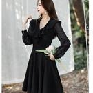 V領荷葉薄紗長袖腰身黑色洋裝[99152-QF]美之札