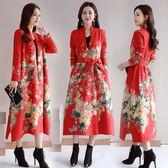 春秋鹿皮絨印花風衣女長款過膝新款中國風女裝復古民族風外套洋裝 週年慶降價