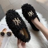 網紅毛毛鞋女外穿新款秋冬季金屬扣羊羔毛平底豆豆鞋加絨棉 【快速出貨】