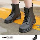 [Here Shoes]英式雨鞋 綁帶馬...