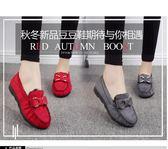 秋冬老北京布鞋女保暖棉鞋平底防滑工作鞋女黑色蝴蝶結加絨豆豆鞋『艾麗花園』
