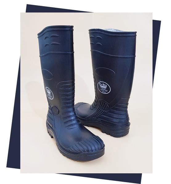 雨靴.KS凱欣 安全鋼頭氣墊工作雨鞋.黑色【鞋鞋俱樂部】【113-903】