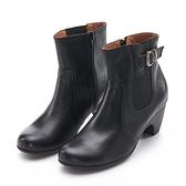 G.Ms. MIT系列-皮帶拼接緊緊帶牛皮小錐跟短靴-黑色