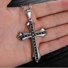 聖十字嘻哈風基督教天主教鈦鋼十字架項鍊(附60公分項鍊)