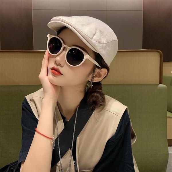貝雷帽 米色棉麻前進帽復古貝雷帽女夏季薄款報童帽潮ins韓版反戴偵探帽